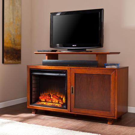 Hadley Media Fireplace - Walnut / Espresso