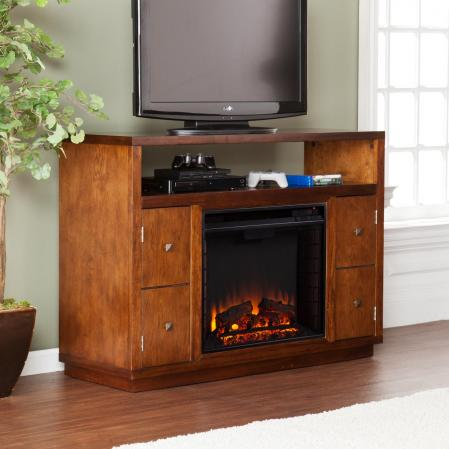 Brentford Media Electric Fireplace - Dark Tobacco
