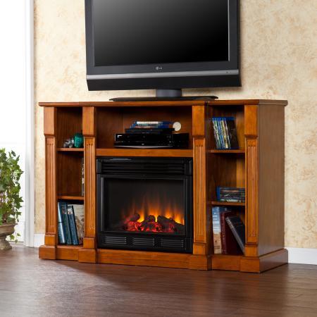 Kendall Electric Media Fireplace - Glazed Pine