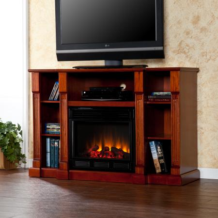 SOLD Kendall Electric Media Fireplace - Classic Mahogany