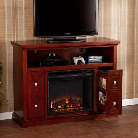 Creston Media Fireplace   Cherry