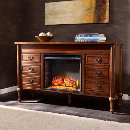 SOLD Haverford Electric Fireplace Console - Whiskey Maple