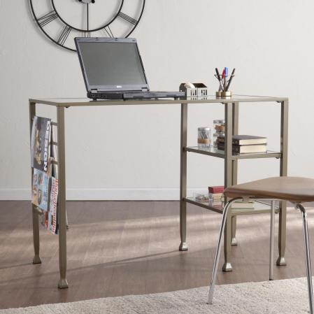 Metal/Glass Writing Desk - Matte Khaki