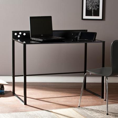 Mercer Metal/Glass Desk w/ Power & USB - Black