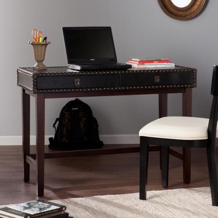 Rinaldi Faux Leather Writing Desk - Black
