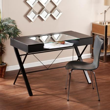 SOLD Rexton Desk - Black w/ Glass
