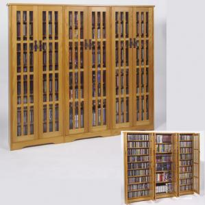 Triple Wide Mission Media Storage Cabinet With Tempered Glass
