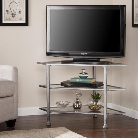 Jaymes Metal/Glass Corner TV Stand - Distressed Silver