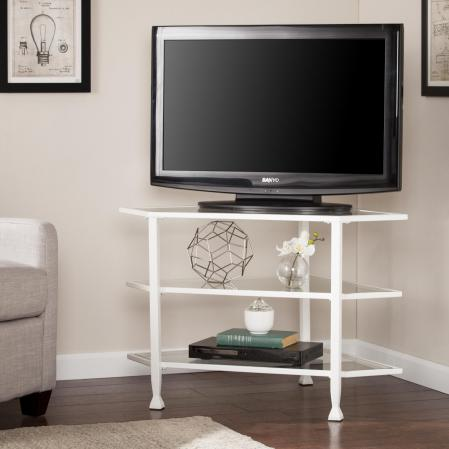 Jaymes Metal/Glass Corner TV Stand - White