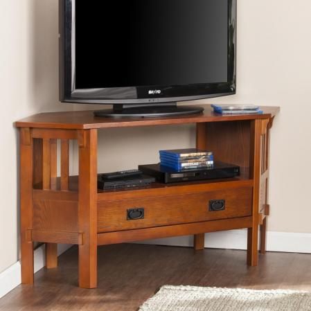 Carson Corner Media Stand - Brown Mahogany
