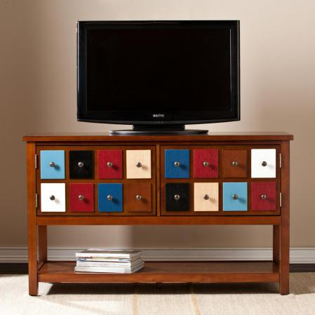SOLD Apothecary TV Stand - Multicolor w/ Brown Mahogany