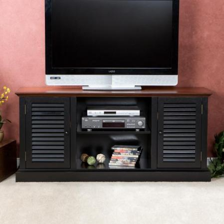 Antebellum Media Stand - Black W/ Walnut