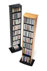 Oak & Black Slim Multimedia Storage Tower
