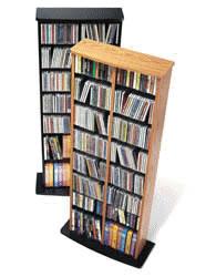 Oak & Black Double Multimedia Storage Tower
