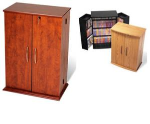 SOLD Locking Media Storage Cabinet, Oak & Black