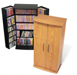 SOLD Tall Locking Media Storage Cabinet, Oak & Black