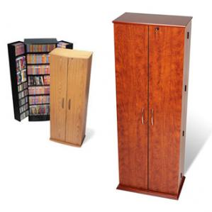 SOLD Grande Locking Media Storage Cabinet, Oak & Black