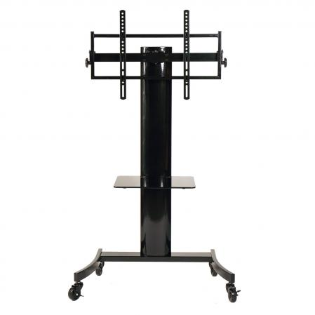 Flat panel TV cart with universal mounting system for up to 75 inch LCD TVs