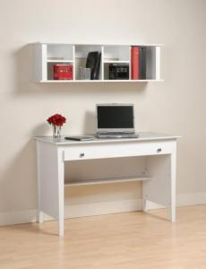 White Wall Mounted Desk Hutch