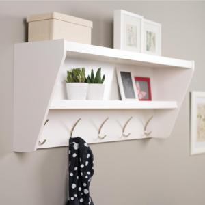 Floating Entryway Shelf & Coat Rack in White